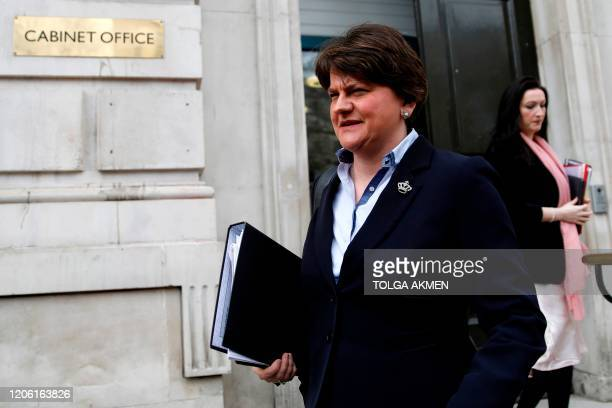 Northern Ireland's First Minister, and Leader of the DUP, Arlene Foster leaves Downing Street in central London on March 9 after an emergency COBRA...