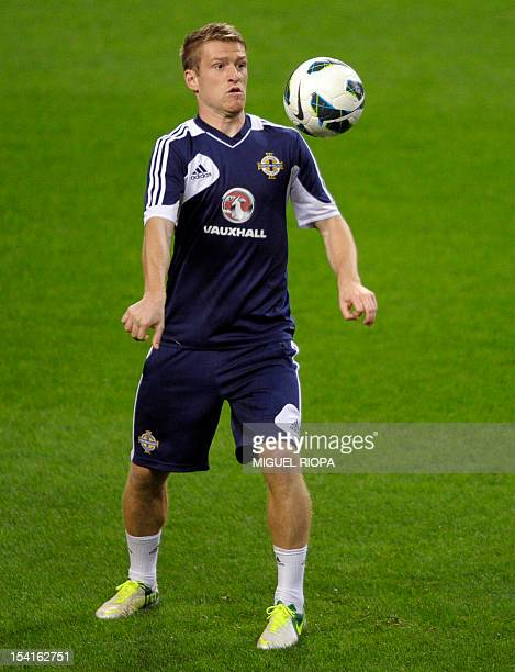 Northern Ireland's forward Dean Shiels takes part in a training session at the Dragao Stadium in Porto on October 15 on the eve of the FIFA World Cup...