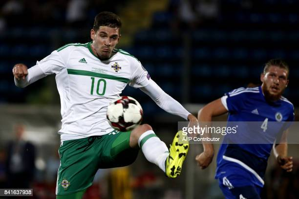 Northern Ireland's forward Kyle Lafferty controls the ball during the 2018 FIFA World Cup qualifying football match San Marino vs Northern Ireland at...