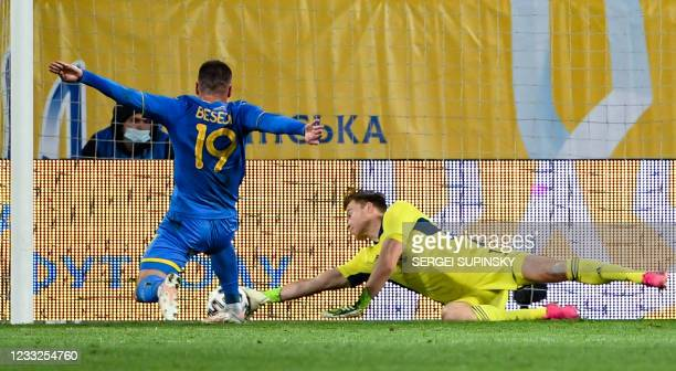 Northern Ireland's goalkeeper Bailey Peacock-Farrell in action during the friendly football match Ukraine v Northern Ireland in Dnipro on June 3 in...