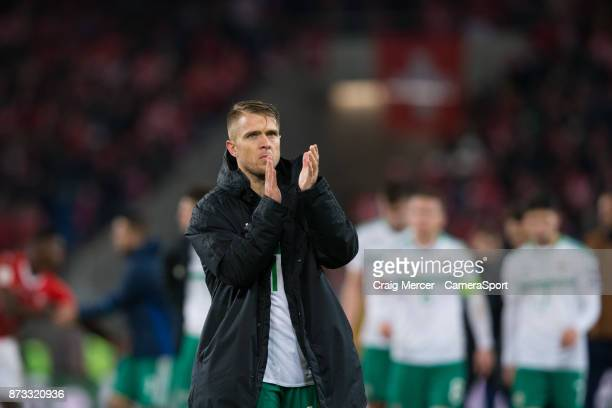 Northern Irelands Jamie Ward applauds the fans at the final whistle during the FIFA 2018 World Cup Qualifier PlayOff Second Leg between Switzerland...