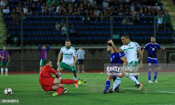 Northern Ireland's Josh Magennis scores his side's first goal during the 2018 FIFA World Cup Qualifying Group C match at the San Marino Stadium...