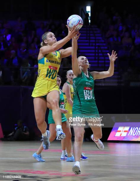 Northern Ireland's Lisa McCaffrey and Australia's JamieLee Price during the Netball World Cup match at the MS Bank Arena Liverpool