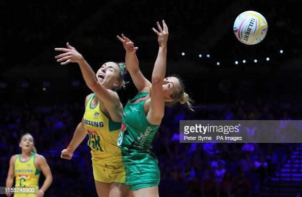 Northern Ireland's Lisa McCaffrey and Australia's Sarah Klau during the Netball World Cup match at the MS Bank Arena Liverpool