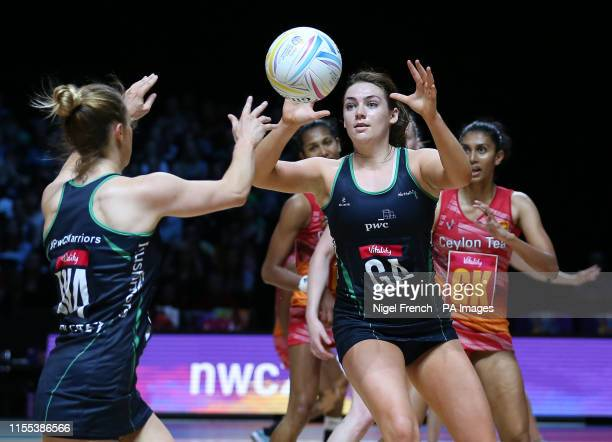 Northern Ireland's Lisa McCaffrey and Emma Magee in action against Sri Lanka during the Netball World Cup match at the MS Bank Arena Liverpool