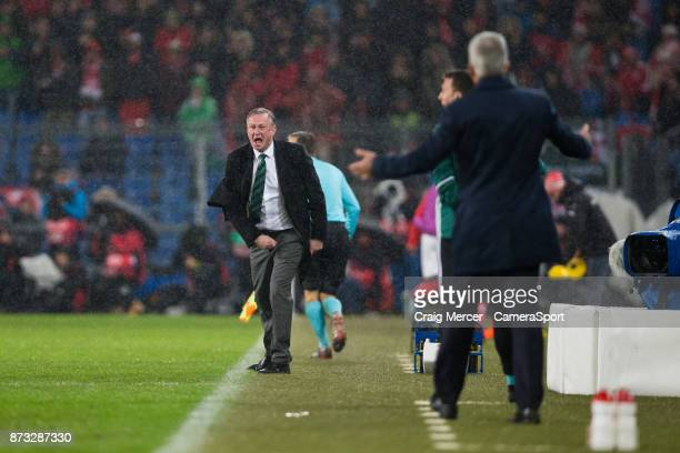 Northern Ireland's Manager Michael O'Neill reacts during the FIFA 2018 World Cup Qualifier PlayOff Second Leg between Switzerland and Northern...