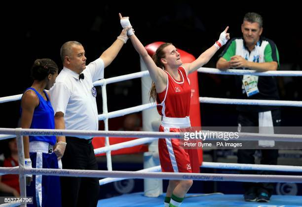 Northern Ireland's Michaela Walsh celebrates her win against Mauritius' Thessa Dumas in the Women's Fly Round of 16 match at the SECC during the 2014...