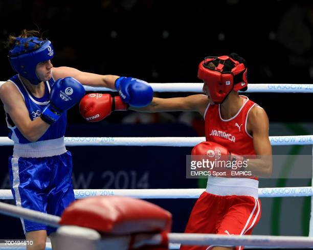 Northern Ireland's Michaela Walsh in action against Jamaica's Sarah Joy Rae in the Women's Fly Quarterfinal 1 at the SECC during the 2014...