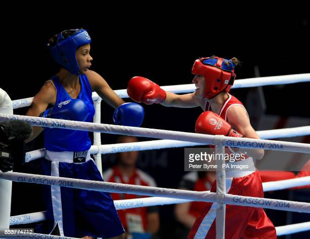 Northern Ireland's Michaela Walsh in action against Mauritius' Thessa Dumas in the Women's Fly Round of 16 match at the SECC during the 2014...