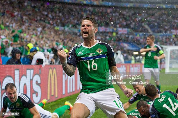 Northern Ireland's Oliver Norwood celebrates his side's opening goal during the UEFA Euro 2016 Group C match between Ukraine and Northern Ireland at...