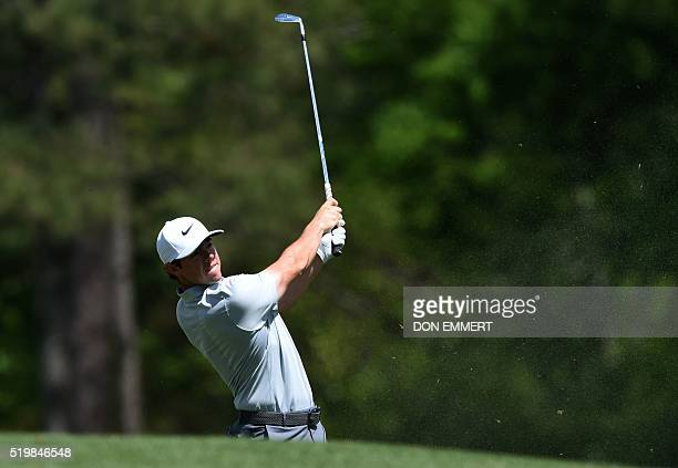 Northern Ireland's Rory McIlroy tees off on the 12th hole during Round 2 of the 80th Masters Golf Tournament at the Augusta National Golf Club on...