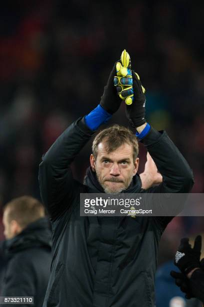 Northern Ireland's Roy Carroll applauds the fans at the final whistle during the FIFA 2018 World Cup Qualifier Play-Off: Second Leg between...