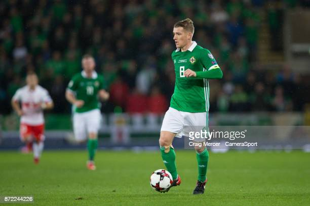 Northern Ireland's Steven Davis in action during the FIFA 2018 World Cup Qualifier PlayOff First Leg between Northern Ireland and Switzerland at...