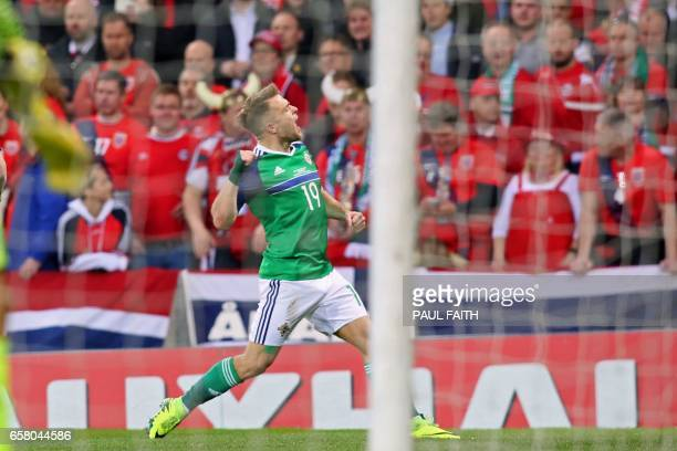 Northern Ireland's striker Jamie Ward celebrates after scoring the opening goal of the World Cup 2018 qualification football match between Northern...