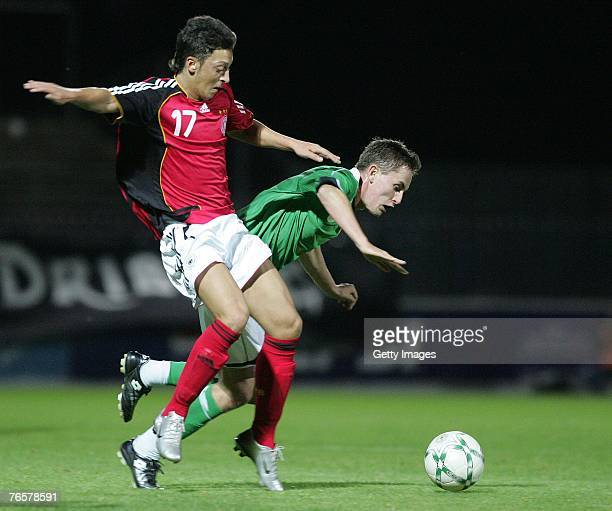 Northern Ireland's Thomas Stewart fails to stop Germany's Nesut Ozil during the U21 Euro 2008 qualifying match between Northern Ireland and Germany...