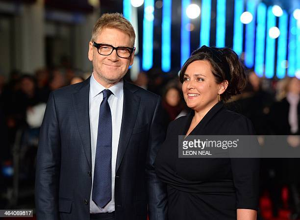 Northern Irish actor and director Kenneth Branagh poses for pictures on the red carpet with his wife Lindsay Brunnock upon arrival to attend the...