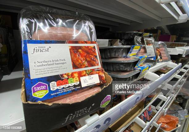 Northern Irish Cumberland sausages are seen on a supermarket shelf on September 10, 2021 in Belfast, United Kingdom. Negotiations between the EU and...