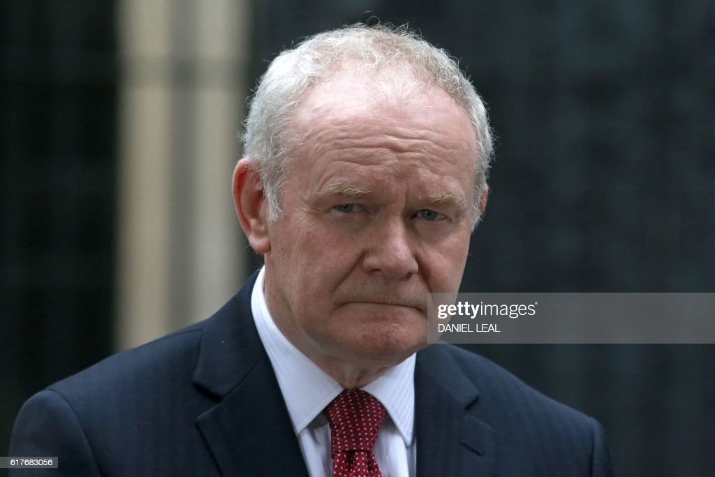 Northern Irish deputy First Minister Martin McGuinness is pictured outside 10 Downing Street in central London on October 24, 2016 after holding talks with British Prime Minister Theresa May and the first ministers of Wales and Scotland on the government's Brexit plans. / AFP / DANIEL
