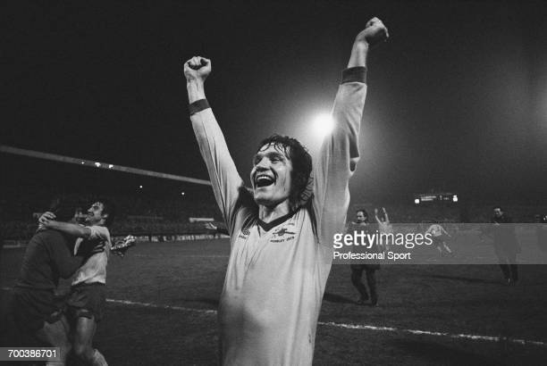 Northern Irish footballer and defender with Arsenal Pat Rice celebrates with team mates after Arsenal defeated Liverpool 10 in the FA Cup semi final...