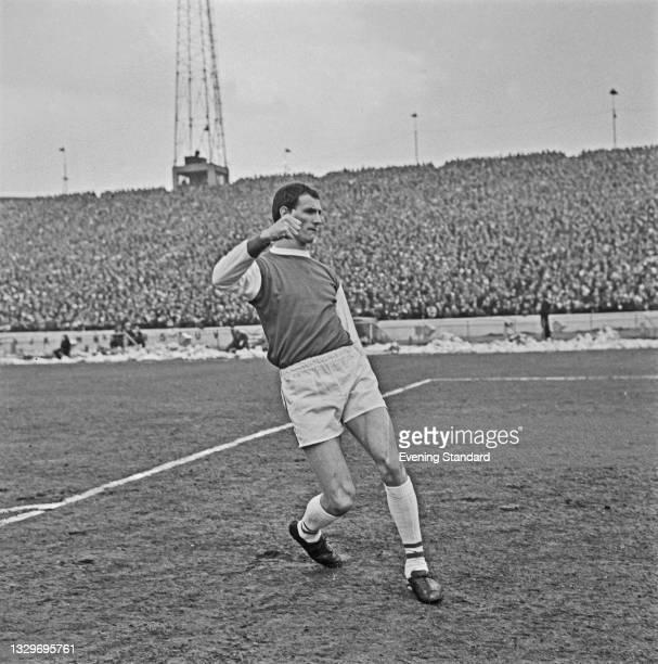 Northern Irish footballer Derek Dougan of Peterborough United FC during an FA Cup quarterfinal match against Chelsea at Stamford Bridge in London,...