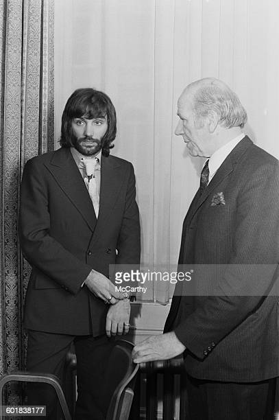 Northern Irish footballer George Best and Sir Matt Busby of Manchester United at the FA headquarters in London for an FA Disciplinary Committee...