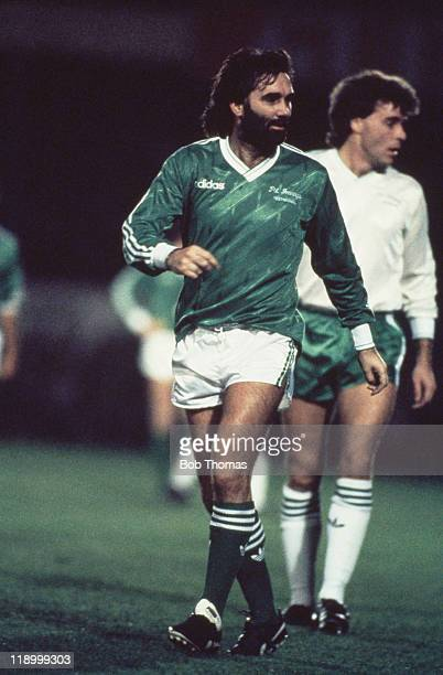 Northern Irish footballer George Best at a testimonial match for Pat Jennings Belfast Northern Ireland 3rd December 1986 Best played for the Pat...