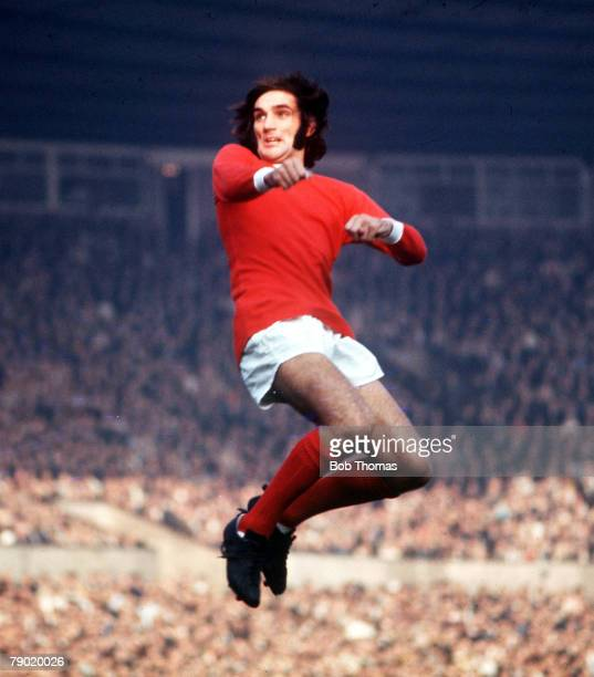 Football 1970s Manchester Uniteds George Best jumps up for the ball