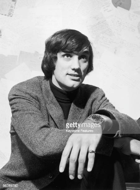 Irish footballer George Best of Manchester United at the 'Best Boutique' a clothes shop owned by the soccer star in Sale Manchester 28th December 1966