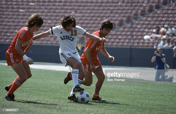 Northern Irish footballer George Best playing for the Los Angeles Aztecs against Dallas Tornado USA 1977
