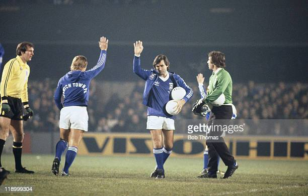 Northern Irish footballer George Best waves to the crowd at Portman Road Ipswich before Ipswich manager Bobby Robson's testimonial match 13th...