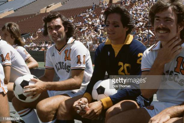 Northern Irish footballer George Best with teammates from the Los Angeles Aztecs USA August 1977