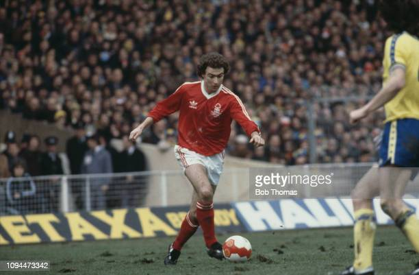 Northern Irish footballer Martin O'Neill, midfielder with Nottingham Forest Football Club, pictured making a run with the ball during the League Cup...
