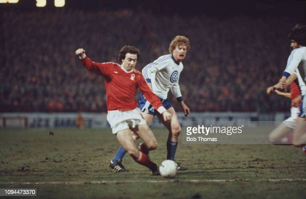Northern Irish footballer Martin O'Neill, midfielder with Nottingham Forest Football Club, pictured in action during the European Cup quarter final...