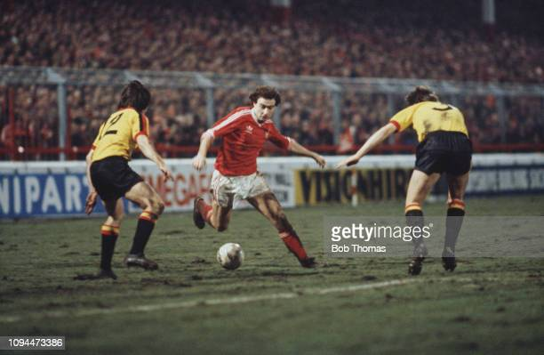 Northern Irish footballer Martin O'Neill, midfielder with Nottingham Forest Football Club, pictured in action with the ball during the League Cup...