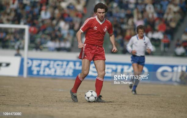 Northern Irish footballer Martin O'Neill, midfielder with Nottingham Forest Football Club, pictured in action during the final of the Copa...