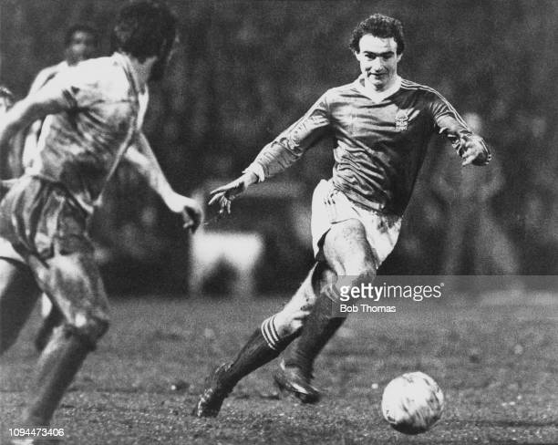 Northern Irish footballer Martin O'Neill, midfielder with Nottingham Forest Football Club, pictured bursting through West Ham's defence to score...