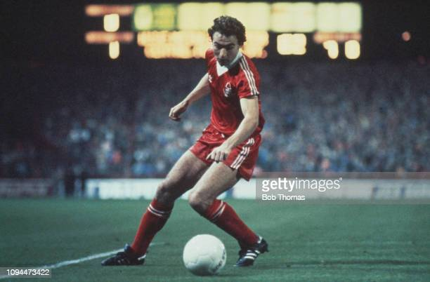 Northern Irish footballer Martin O'Neill, midfielder with Nottingham Forest Football Club, pictured in action during the European Cup first round 1st...