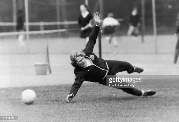 Northern Irish goalkeeper 'Willie' Iam McFaul of Newcastle United FC in training in the grounds of the Selsdon Park Hotel London 3rd May 1974