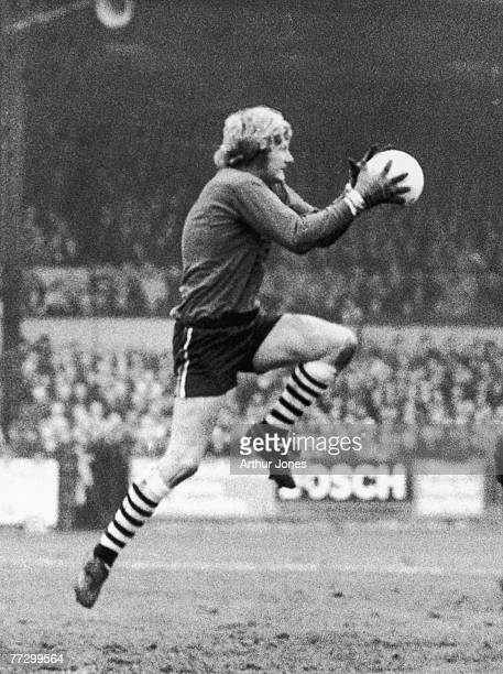 Northern Irish goalkeeper 'Willie' Iam McFaul of Newcastle United FC in action 11th January 1974