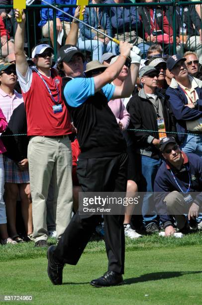 Northern Irish golfer Rory McIlroy swings his club during the 110th US Open golf championship Pebble Beach California June 17 2010