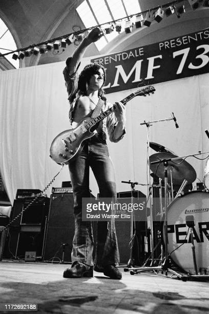 Northern Irish guitarist and singer Gary Moore performs at Alexandra Palace in London during the London Music Festival 5th August 1973