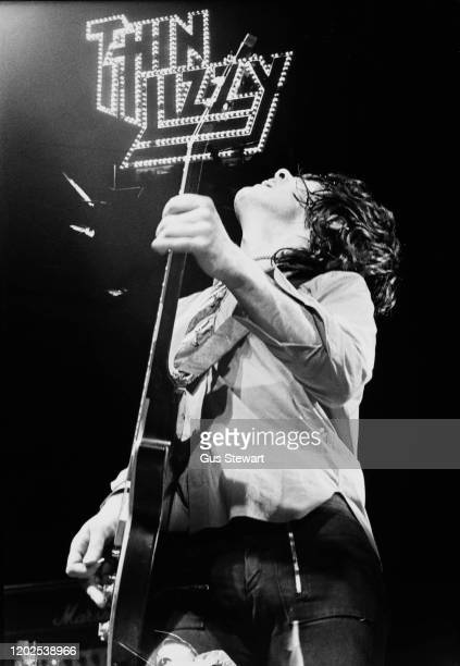 Northern Irish guitarist and singersongwriter Gary Moore performing live with hard rock band Thin Lizzy circa 1978