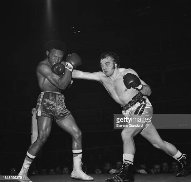 Northern Irish heavyweight boxer Danny McAlinden fights Vernon McIntosh of the USA at the Royal Albert Hall in London, UK, 11th December 1973.