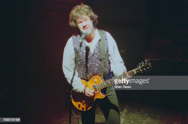 Northern irish musician and guitarist Gary Moore performs live on stage with the rock trio BruceBakerMoore at the Marquee in London in June 1994