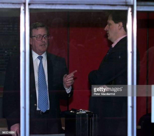 Northern Irish politician David Trimble with Alastair Campbell chief press secretary to Tony Blair during the Northern Ireland Belfast Agreement...