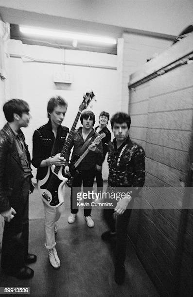Northern Irish punk rock group Stiff Little Fingers backstage UK 8th March 1980 From second left bassist Ali McMordie guitarist Henry Cluney singer...