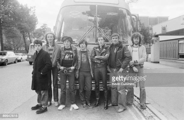 Northern Irish punk rock group Stiff Little Fingers with road crew in Bournemouth 10th March 1980 Drummer Jim Reilly is at far left Other band...