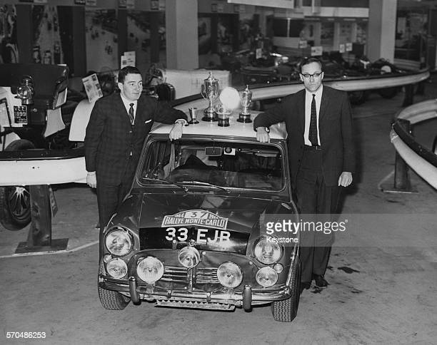Northern Irish rally driver Paddy Hopkirk and codriver Henry Liddon with the Mini Cooper S in which they recently won the Monte Carlo Rally at the...