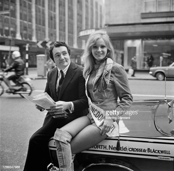 Northern Irish rally driver Paddy Hopkirk with Marilyn Ward, winner of the Miss United Kingdom 1971 contest, UK, 10th January 1972.