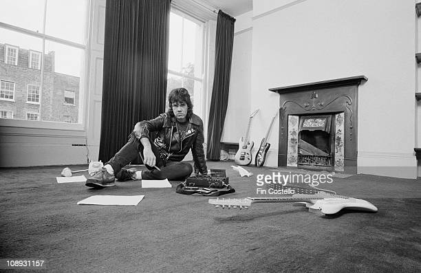 Northern Irish rock guitarist Gary Moore at home London August 1984